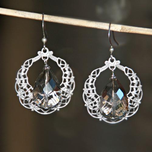 IS-695  Teardrops of Beauty Crystal Earrings