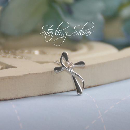 STG-50  Sterling Silver cross CZ Necklace