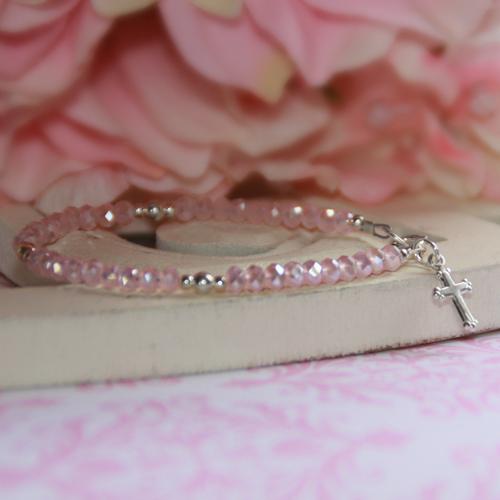 "STG-24CR  Matte Pink Crystals and Sterling Silver Cross  5"" Bracelet"