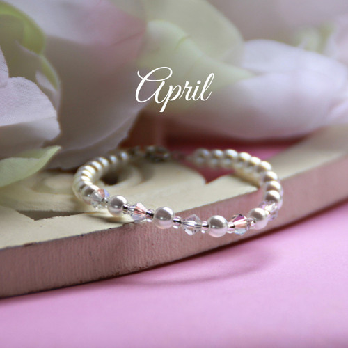 CJ-132  April Birthstone Bracelet 5""