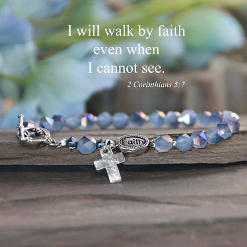 IN-170  Faith Gorgeous Blue Crystals Bracelet