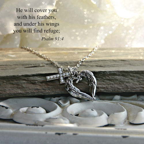 IN-541  He will cover you with his feathers...Necklace