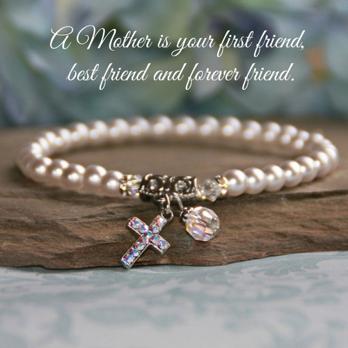 IN-173  Mother Bracelet Stretchy Style with Pearls & Swarovski