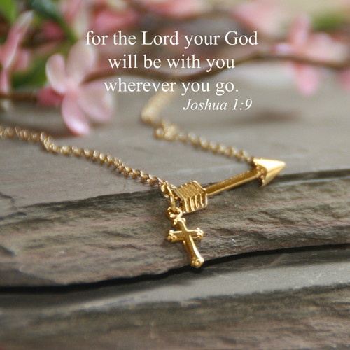 IN-539G  Arrow with Scripture Necklace Gold