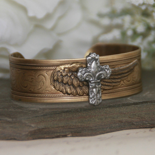 ART-140  Wings and a Prayer Cuff Bracelet
