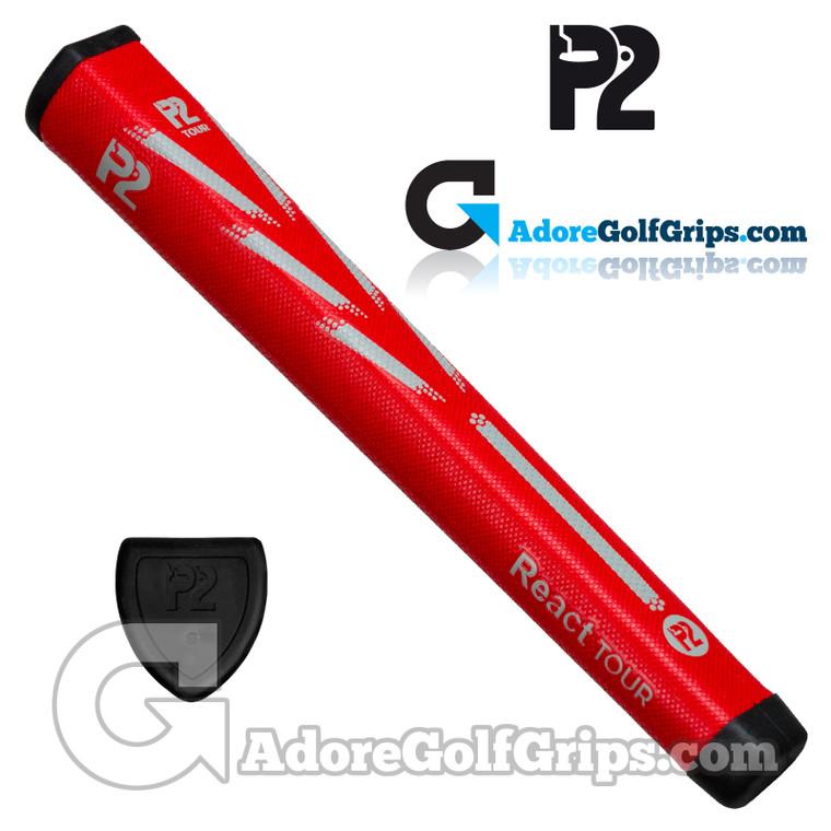 P2 React TOUR Jumbo Putter Grip - Red / Grey