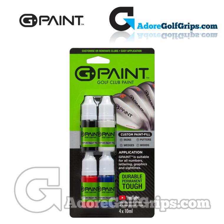 G-Paint Custom Golf Club Paint Fill Bottles - Black / White / Red / Blue (4 Pack)