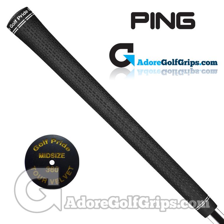 "Ping Tour Velvet 360 Midsize (Gold Code +1/32"") Grips By Golf Pride - Black / Gold"