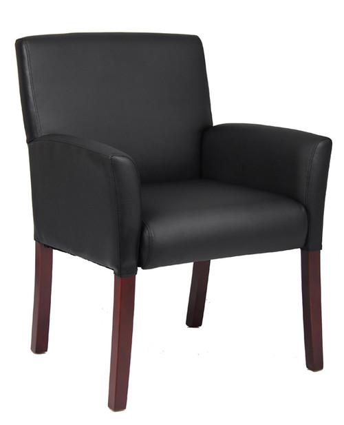 Boss Box Arm Guest Chair W/Mahogany Finish B619