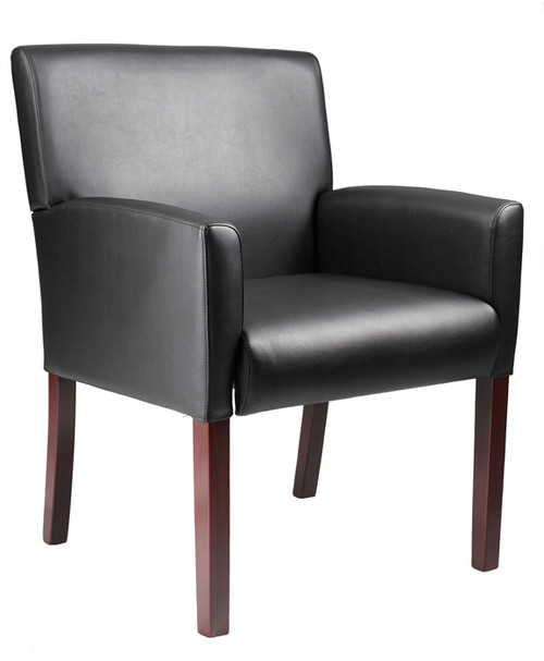 Boss Reception Box Arm Chair W/Mahogany Finish B629M