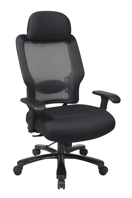 Office Star Big and Tall Professional AirGridBack and Mesh Seat with Adjustable Headrest 63-37A773HM