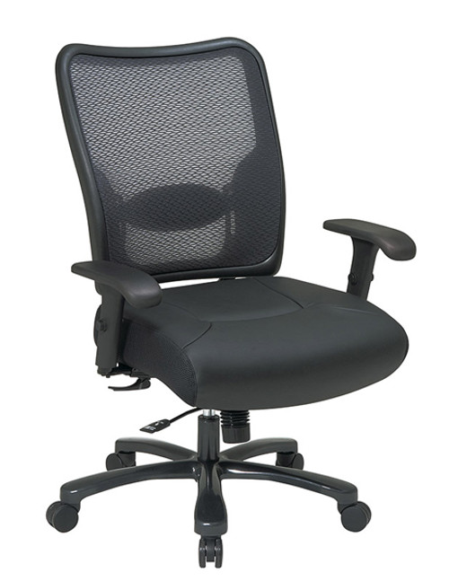 Office Star Big & Tall Double AirGridBack and Layered Leather Seat Ergonomic Chair 75-47A773