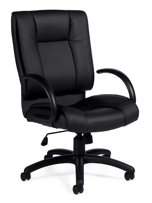 OFFICES TO GO-Leather (Luxhide*) Seating-High back tilter chair with arms. Bonded black leather. Arched base with carpet casters. OTG2700-BL20