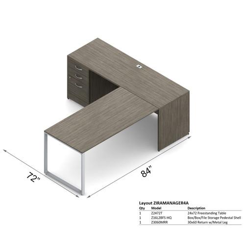 Global Zira Reversible L-Shape Desk