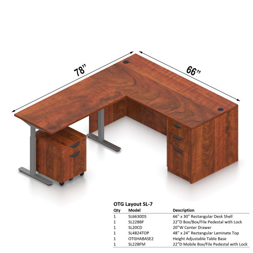 "Offices To Go-Layout SL7, 78"" x 66"" L-Shape Desk with Height Adjustable Table Base"