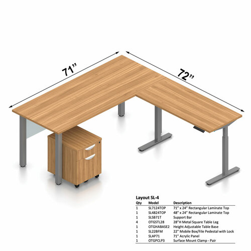 """Offices To Go Layout SL4, 71"""" x 72"""" L-Shape Desk with Height Adjustable Table Base"""
