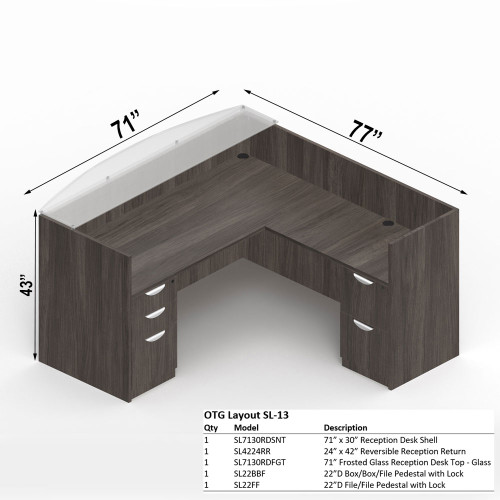 """Offices To Go Layout SL13, 71"""" x 77"""" L-Shape Reception Desk"""