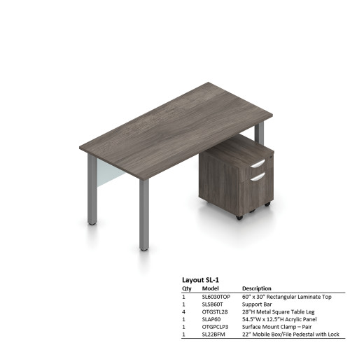 "Offices To Go 30"" x 60"" Desk with Mobile Pedestal"