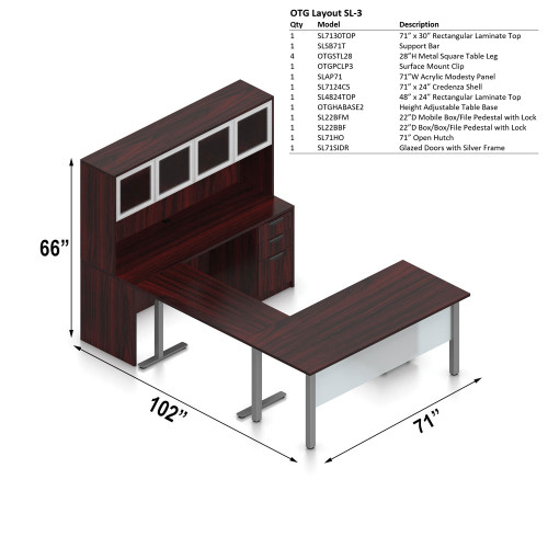 Offices To Go Layout SL3, U-Shape Desk with Height Adjustable Base