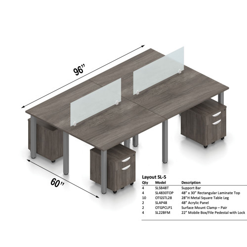"""Offices To Go Layout SL5, 60"""" x 196"""" 4-Pod Workstation"""