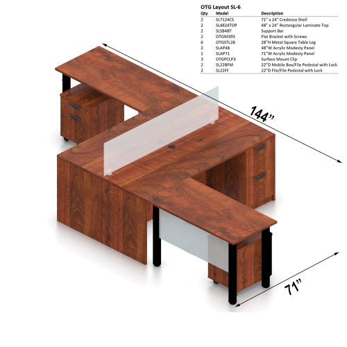 """Offices To Go Layout SL6, 71"""" x 144"""" 2-Pod Workstation"""