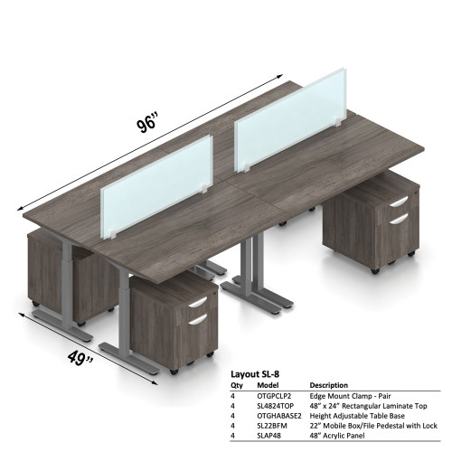"""Offices To Go Layout SL8, 49"""" x 96"""" 4-Pod Workstation"""