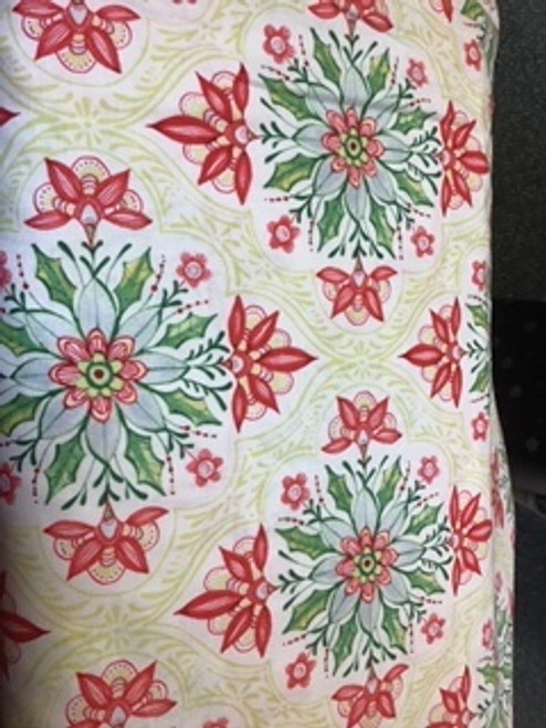 I  Love Christmas - green floral on cream