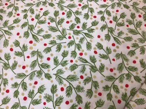 Mistletoe - evergreen sprigs on white