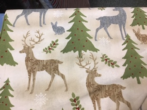 Holiday Meadow - deer/trees on cream