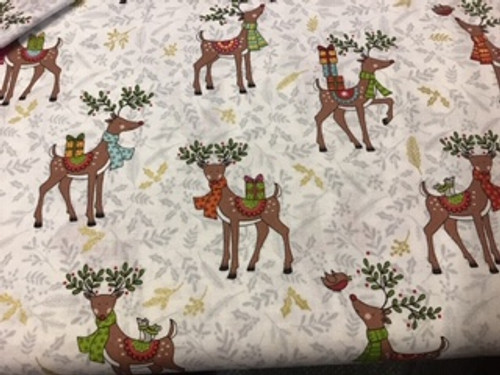 Christmas - deers on grey/holly print