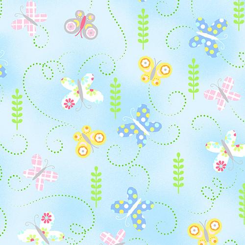 Hippity Hoppity-butterflies sky blue
