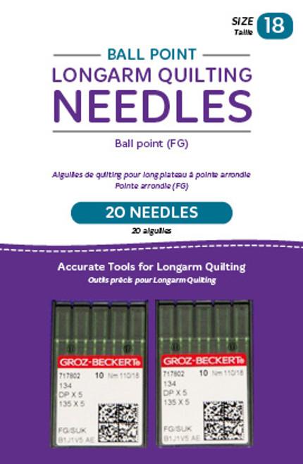 HQ-Ballpoint longarm Needles, 20 needles/pkg, 18FG Ballpoint