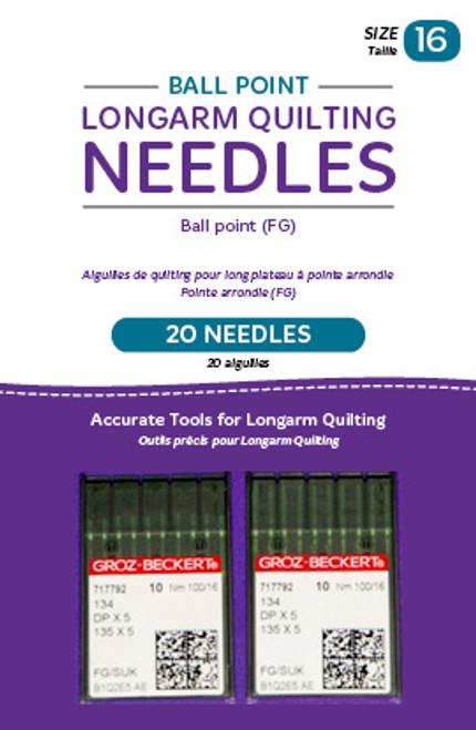 HQ-Ballpoint longarm Needles, 20 needles/pkg, 16FG Ballpoint