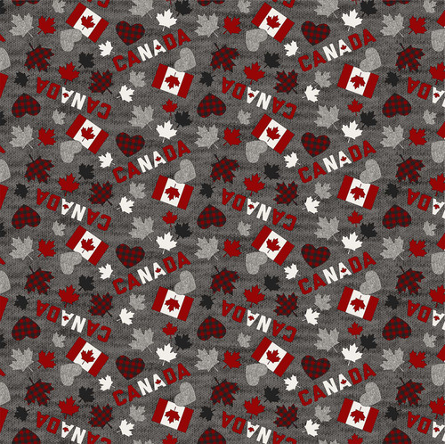 My Canada-flag, hearts, leaf scattered on grey