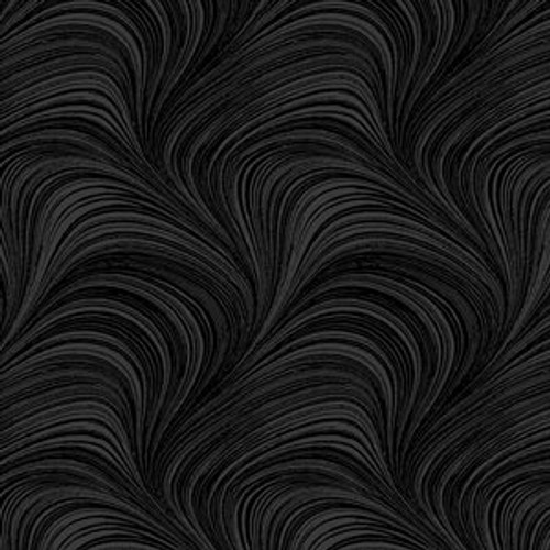 "Wave Texture - 108"" wide, black"