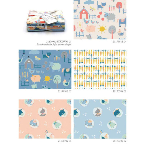 Cluck Moo Oink, (5) fat quarters stax
