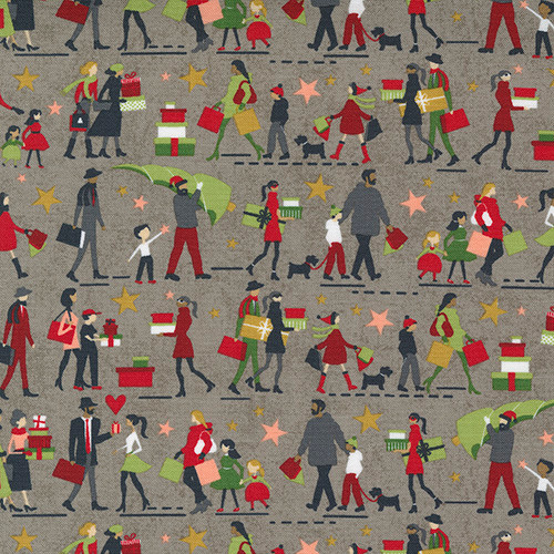 Hustle and Bustle, Tinsel - people shopping on grey