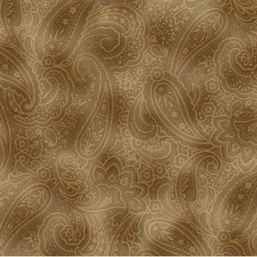 "Radiant Paisley, 108"" wide, sepia"
