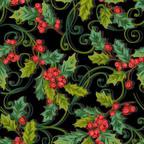 Christmas Joy - holly swirls