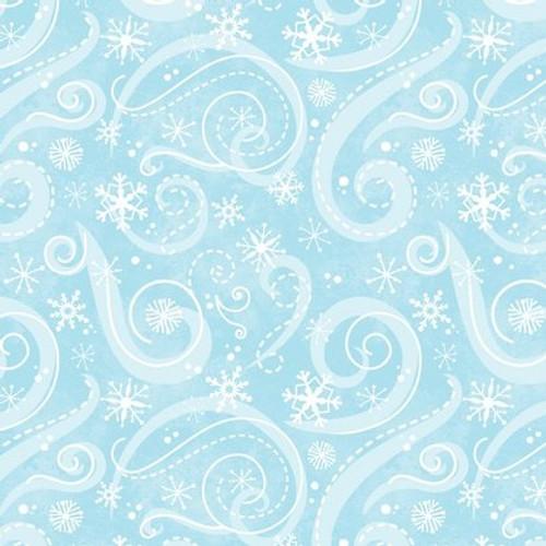 Flaky Snow Pals - snowflake swirls on blue