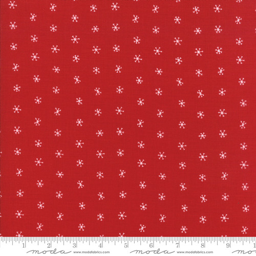 Merriment - white snowflakes on red