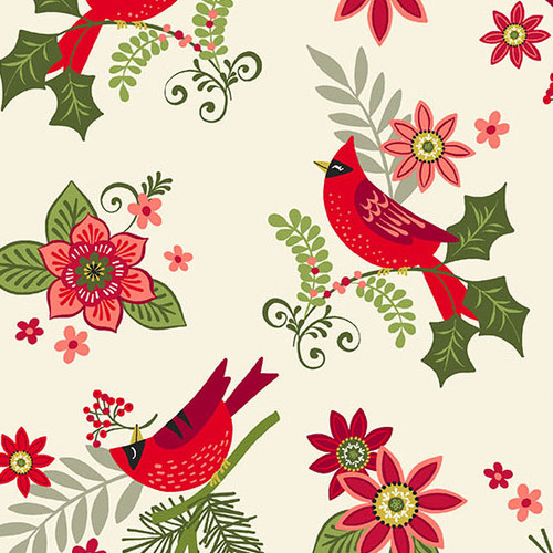 Mistletoe - floral cardinals on cream