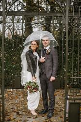 Real bride wearing long sleeve wedding dress!