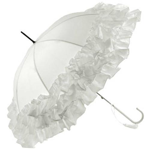 Frill Edge Umbrella - White