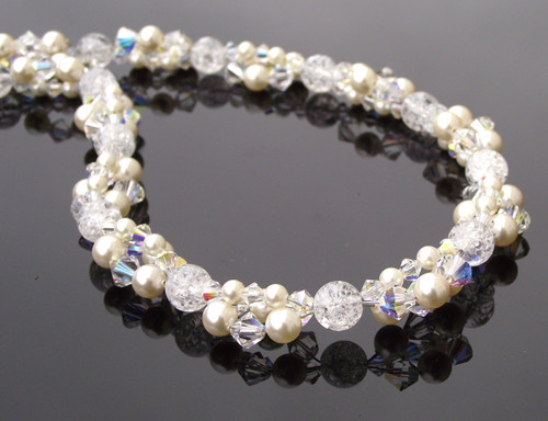 Ivory Pearl Necklace, Crystal Cluster Beaded Bridal Necklace