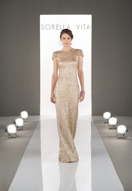 Boat-neck, capped sleeve sequin sparkly bridesmaid dress