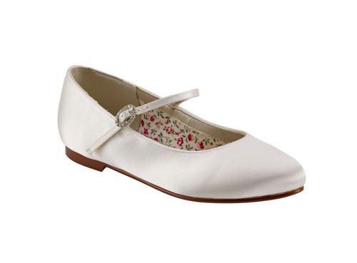 BINX - WHITE SATIN BALLET PUMP KIDS SHOES