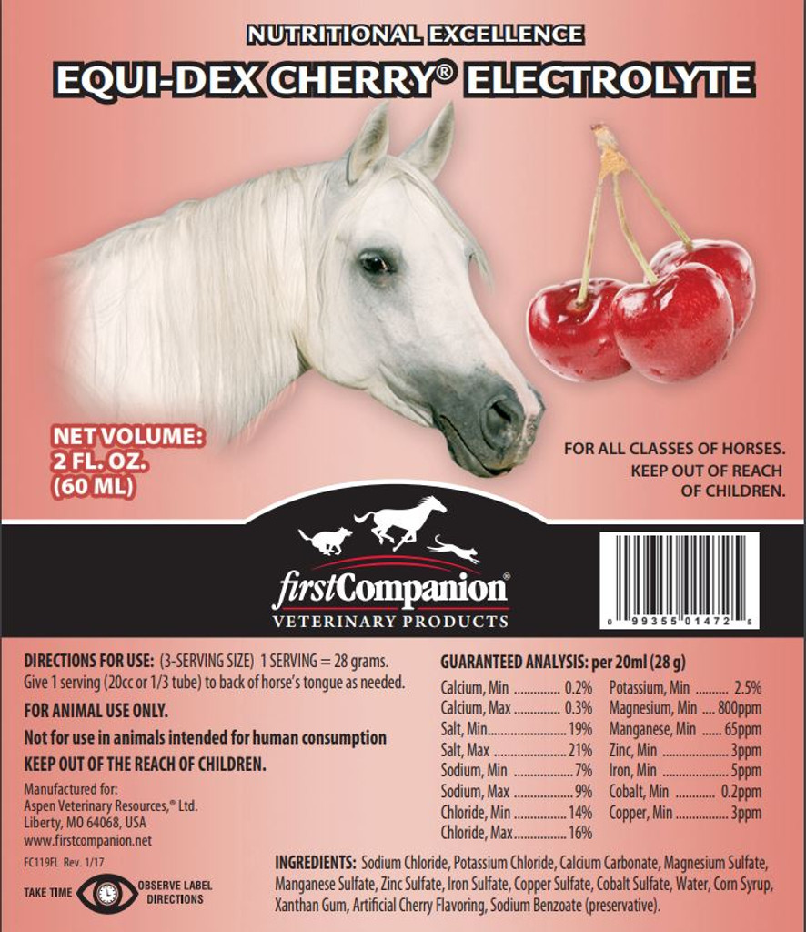 Equi-Dex Cherry Electolyte Product Label