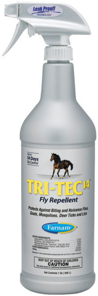 Tri-Tec 14™ Fly Repellent is a water-based formula that means business. Protect your horse against six types of flies plus gnats, mosquitoes, lice and deer ticks. Keep a bottle in your tack box for on-the-go use and another at the barn for fast, economical refills.  Protects against horse, house, stable, face, horn and deer flies, plus gnats and mosquitoes Protects against deer ticks that may transmit Lyme disease Quick knockdown and long-lasting protection Keeps working for up to 14 days Contains sunscreen Contains Cypermethrin, Pyrethrins, Piperonyl Butoxide, Technical and Butoxypolypropylene Glycol