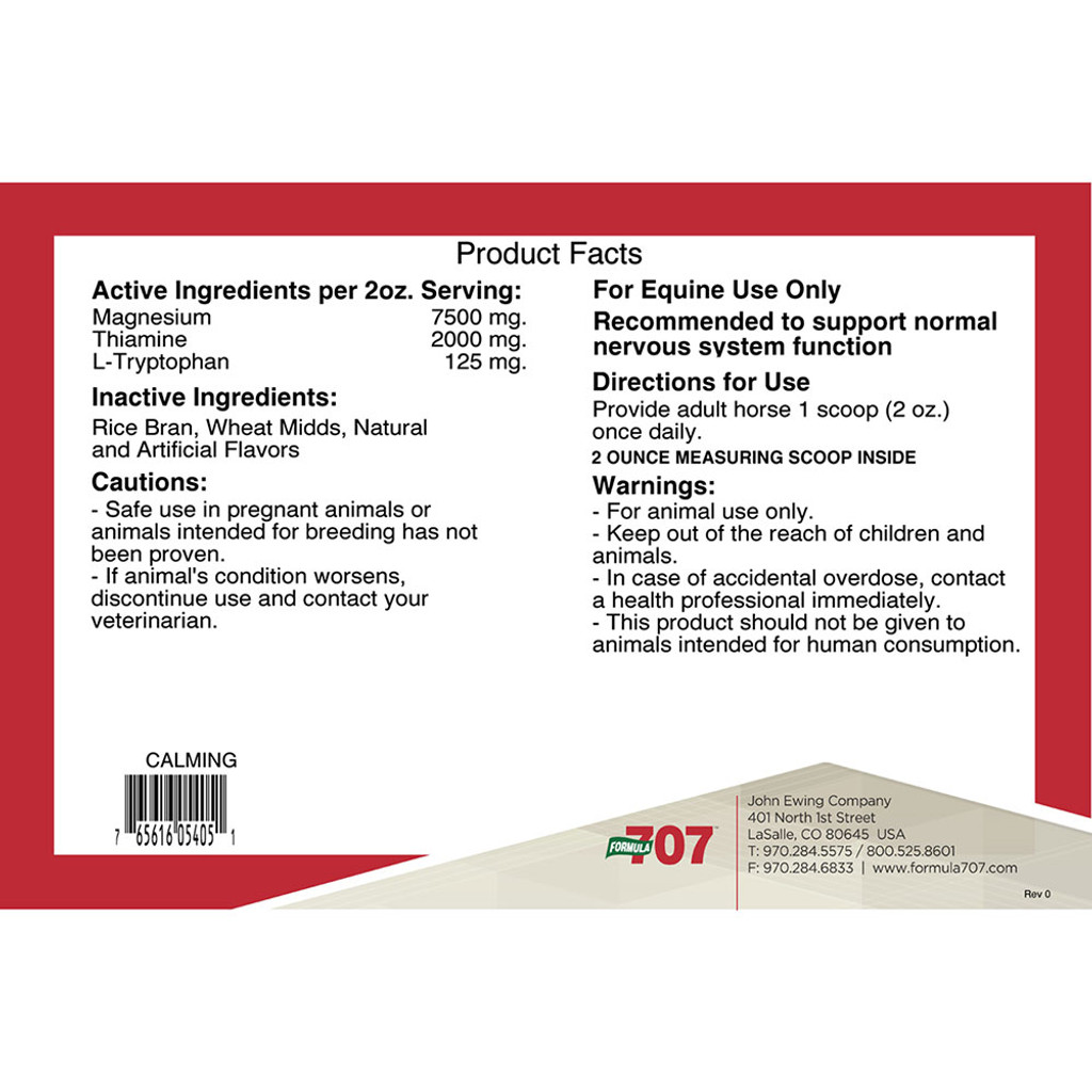 Formula 707 Calming Pellets product label